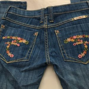 Frankie B. Denim - Frankie B low rise jeans flower F pockets festival