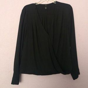 Black Surplice Blouse Top