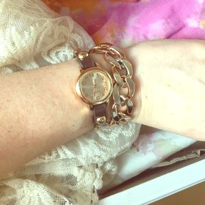 Jewelry - Two band watch gold tone and leather look
