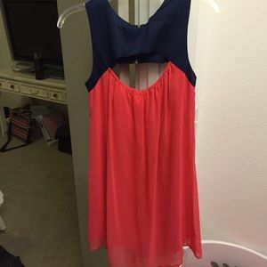 Navy and Pink Cocktail Dress