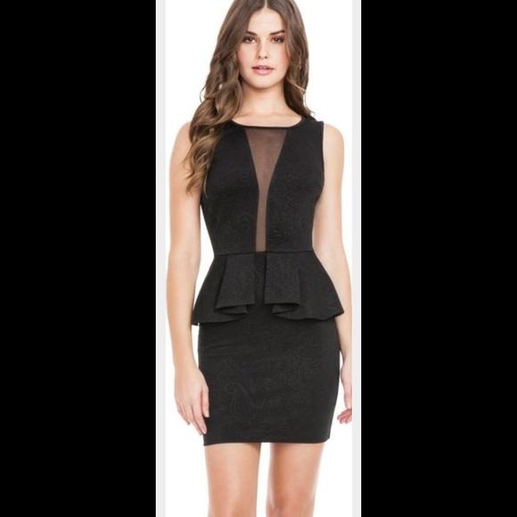 GUESS mini dress peplum sleeveless sheer back new