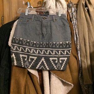 Aztec winter/summer Jean mini skirt! Stripes! Sz S