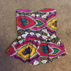 Kersh pattern strapless top
