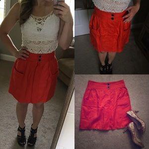 🎉HP Jcrew dorrie skirt 00 orange red blood linen