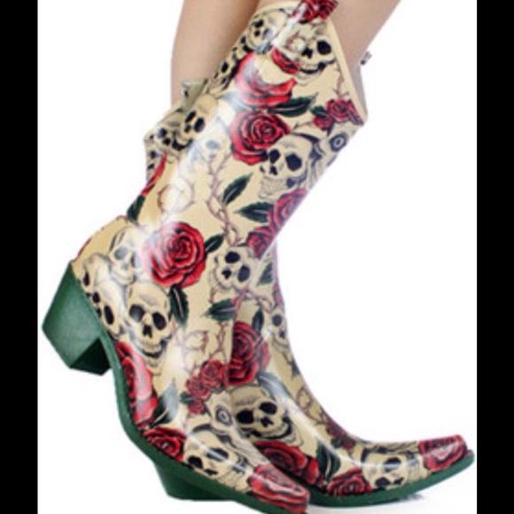 a0f0e989cdd 💥PRICE DROP💥 Skull & Roses Cowboy Rainboots