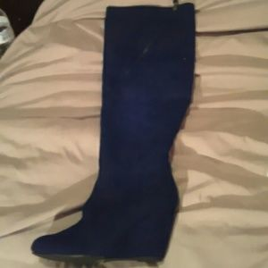 Qupid Shoes - Navy blue color over knee suede wedge boots new