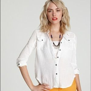 Free People White Crinkle Button Down