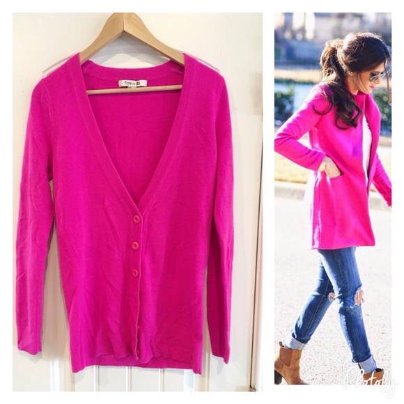 Forever 21 Sweaters Hot Pink Cardigan Poshmark