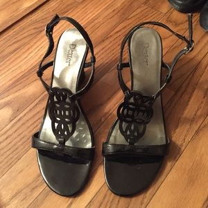 Black Patent Leather Wedge Sandal. Size 6.5.