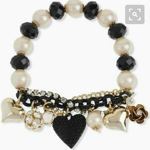 Betsey Johnson pearl and crystal heart bracelet