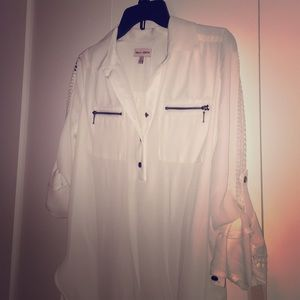 Sheer white popover shirt NWT