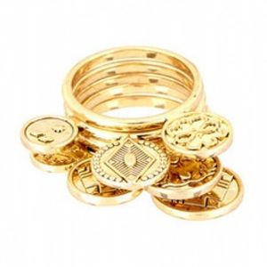 House of Harlow 1960 14k Five Stack Coin Rings