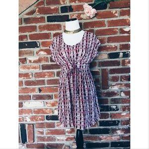 Boutique Dresses & Skirts - Boho Babydoll Empire Waist Block Print Dress