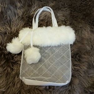 Handbags - Furry white bridal winter makeup bag