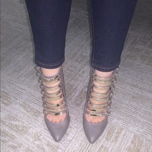 Pointed Buckle Taupe Booties