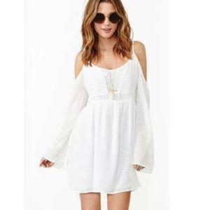 White/cream shoulder cut out dress