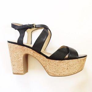Nine West black leather/cork platform heels