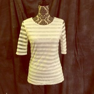 Sunday in Brooklyn White/Sheer striped top Sz M