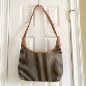 Striped Brown Braided Shoulder Bag