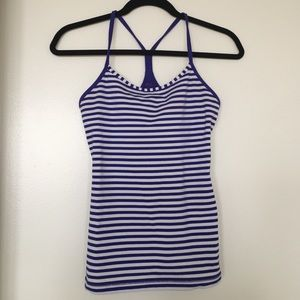 Power Y tank in royal blue & white stripes