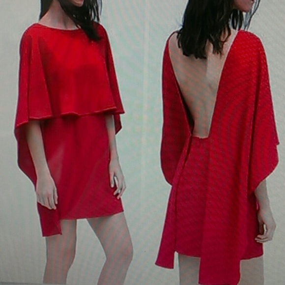 4af8f2a4b0b NWT Zara fuchsia pink S open back cape dress
