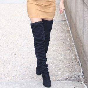 High heel suede thigh high boots