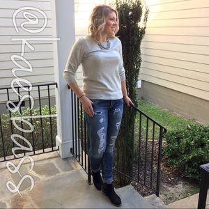 ELLE Sweaters - ELLE Gray Sweater w/Lace Appliqué