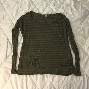 Forest Green Striped Long Sleeve Top