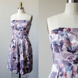 The Limited pale purple floral strapless dress