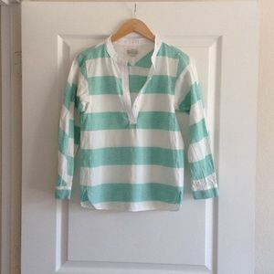 MADEWELL mint stripe popover shirt top