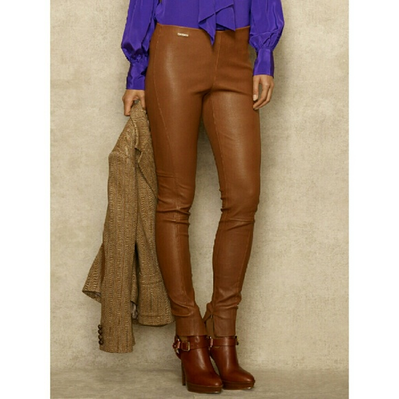 value for money shopping biggest discount Ralph Lauren blue label brown stretch leather pant Boutique