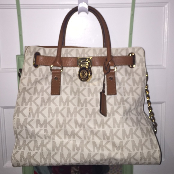 Michael Kors Bags   A Bag Cream With Mk On It And Brown   Poshmark 32c10cfb98