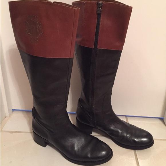 a952e103de4 SALE! Etienne Aigner Two-toned Costa Riding boots