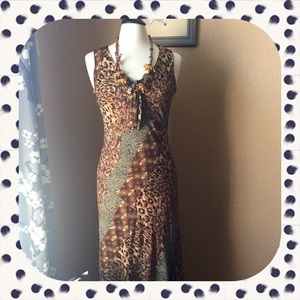 Dresses & Skirts - Animal print asymmetrical sheath dress