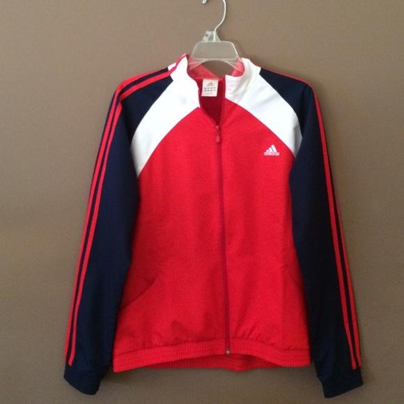Adidas Jackets Coats Red White And Blue Jacket Poshmark