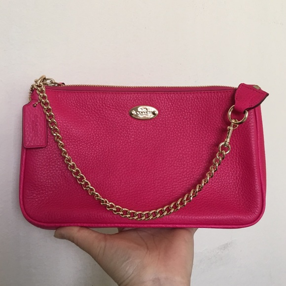 bd763ce8f96 Coach Bags   Nwt Large Leather Wristlet Pink Ruby F53340   Poshmark