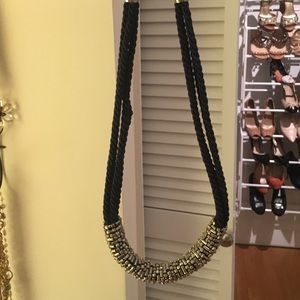 Navy and silver statement necklace