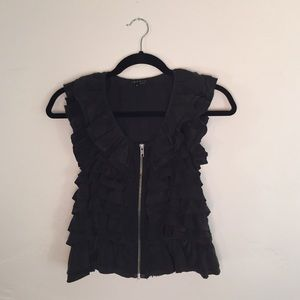 Theory Tops - Silk Ruffled Theory Vest