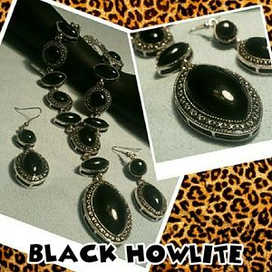 SET-Black Howlite Necklace and Earrings. New