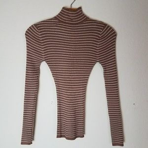 Rue21 Sweaters - Light Brown Tan White Stripes Longsleeve Mockneck