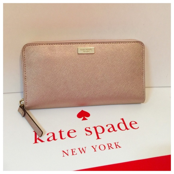 159941352f8 New Kate Spade rose gold leather accordion wallet