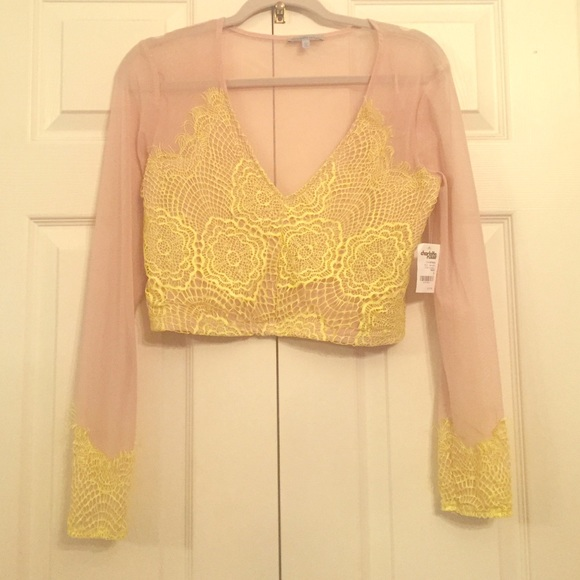 5b6c2ef2435104 Mesh and lace long sleeve cream and yellow top