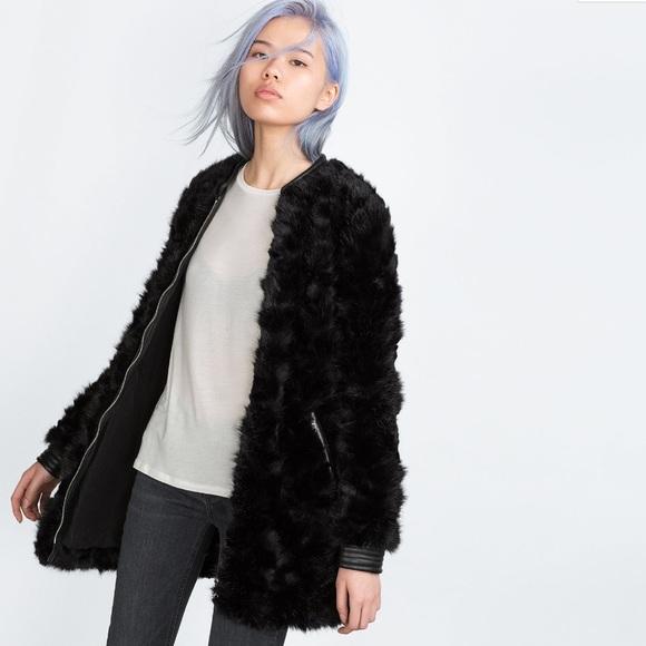 d7b4f6b648 NEW ZARA Faux Fur Coat Small Leather Cuff Collar