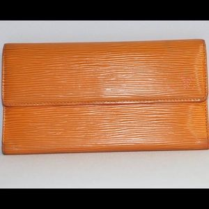 Authentic Louis Vuitton Epi Orange Long Wallet