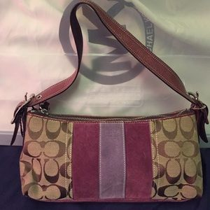 Coach Handbags - SALE:: Small purple and tan Coach bag