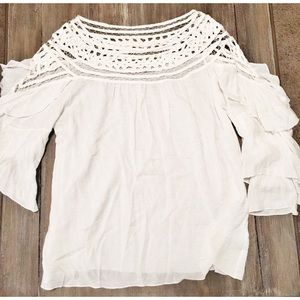 Gorgeous White 3/4 Sleeve Top - Large - Never Worn