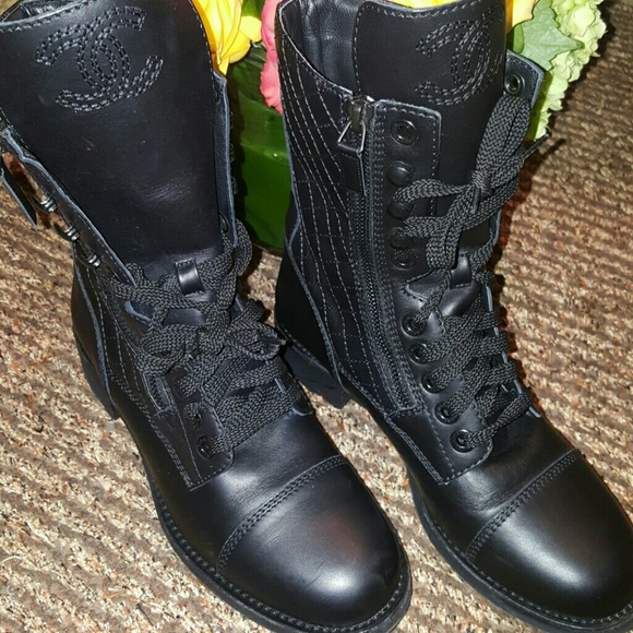 Chanel Shoes Quilted Combat Boots Poshmark