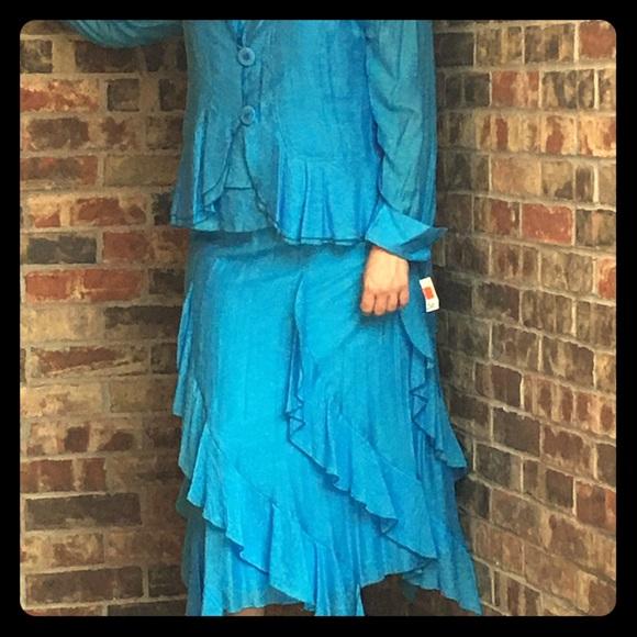Seven Karat Skirts 3 Piece Nwt Womens 2xl Light Blue Dress Suit