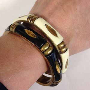 Vintage Bangle Bracelets Brass, Ivory & Black