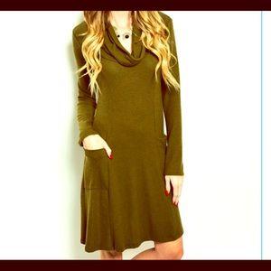 FashionBohoLoco Dresses & Skirts - Mock Turtleneck Cape Maxi Tunic Shirtdress NWOT